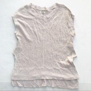 Madewell Modern Linen Muscle Tee Top Shirt Tan XS